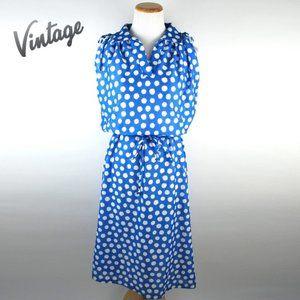 Vintage 80s Sears Blue Polkadot Midi Dress M